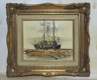 Original Oil Painting Seascape Ornate Gold Gesso Carved Picture Frame by North