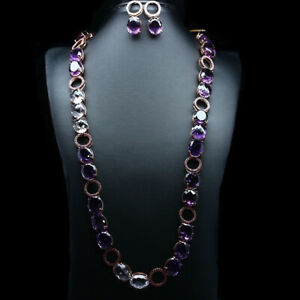 REAL PINK & PURPLE AMETHYST, PINK SAPPHIRE LONG NECKLACE WITH EARRINGS 925SILVER