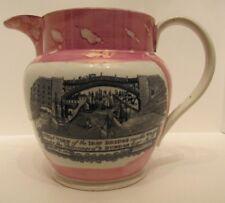 Sunderland pink lustre ware Jug  Antique  c 1847 John Sarah Wood Nottingham