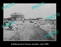 OLD POSTCARD SIZE PHOTO OF St KILDA BEACH MELBOURNE VICTORIA ca1900