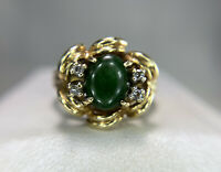 Vintage 14k Yellow Gold Oval Green Jade Round Diamond Flower Cocktail Ring