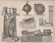 Gebläse Ventilator Regulator Cagniardelle Wasserrad Lithographie 1874 Antik