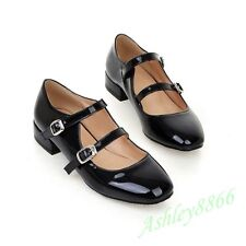 Sweet Mary Janes Double Buckle Strap Low heel Patent Leather Lady Pump Shoes Sz