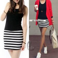 Cotton Blend Striped Sleeveless Tops for Women