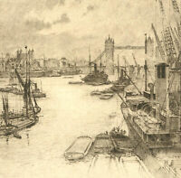 Early 20th Century Etching - Thames, London VI