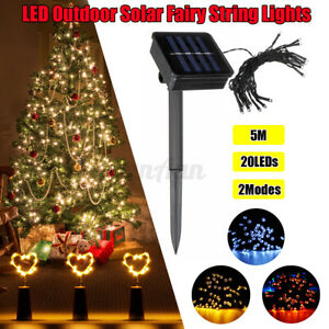 5M 20 LED Solar String Lights Waterproof Copper Wire Fairy Outdoor Garden Party
