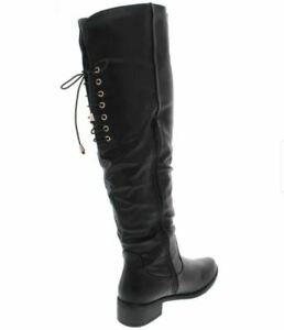 NEW Top Moda Womens Size 10 Corseted Over the Knee Riding Boot Black Side Zipper