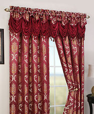 Peru, Deluxe Jacquard Window Curtain Rod Pocket 2 Panels & 1 Valance