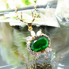 CHAIN AND PENDANT MY DEAR DE ORO 18KT. PLATING WITH EMERALD OVAL ZIRCONIUM CZ