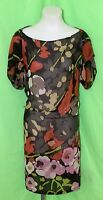 * DRIES VAN NOTEN * Made in Italy 100% SILK SHEER DRESS Vibrant Colours  36 UK 8