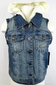 Philadelphia Eagles Womens Medium Touch Layered Look Denim Vest Jacket AEAG 186