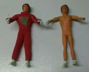 """2 Vintage 1972 Ideal Toys Evel Knievel 7"""" Bendable Action Figures"""