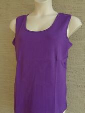 Roaman's L 18-20W  Fine  Ribbed Cotton Scoop Neck Tank Top Purple