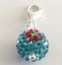 SHAMBALLA PAVE SPARKLY CRYSTALS TURQUOISE BLUE+ FLOWERS 10mm BALL CLIP ON CHARM