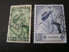 MALTA, SCOTT # 223/224(2),COMPLETE SET 1948 ROYAL SILVER WEDDING ISSUE USED