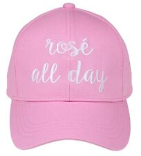 C.C Women's Embroidered Pink ROSE ALL DAY Adjustable Baseball Hat Cap GNO