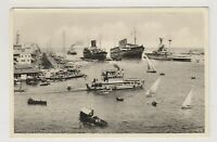 Shipping postcard - Port Said Harbour, Egypt shows Cargo, Military ships (A337)