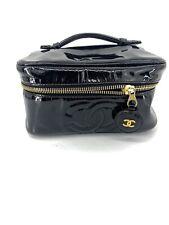 CHANEL BLACK PATENT LEATHER VANITY CASE Clutch Vintage Bag Makeup Travel 05119