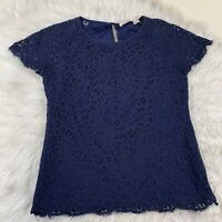 Solitaire Womens Blouse Short Sleeve Lace Navy Blue Sz Small