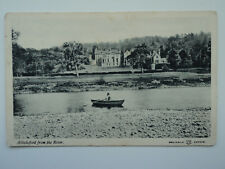 W H & S B&W PC Abbotsford from the River. Roxburghshire. Posted 1904. Boat