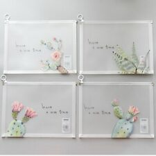 """cute Cactus"" Pack of 4 File Folder One Layer Plastic Document Stationery Bag"