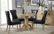 Kingston Round Oak Dining Table - with 4 Bewley Black Chairs