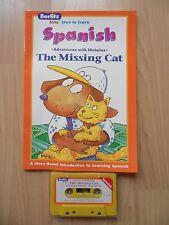 BERLITZ LEARN SPANISH LOT 2~Missing Cat~LA GATA PERDIDA~Audio Cassette Tape Book