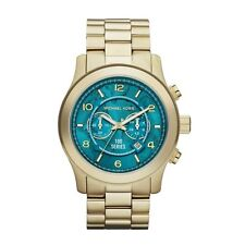 Michael Kors Hunger Stop Gold Tone & Turquoise Oversized Dial Watch mk8315