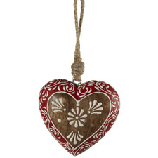"""Wood FLOWER HEART Christmas Ornament, 3"""" Long, by Midwest CBK"""