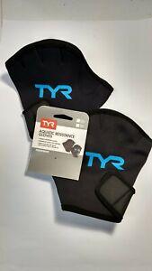 TYR Aquatic Resistance Gloves, Large Black/Blue