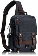 Leaper Men's Small Canvas Shoulder Messenger Cross Body Sling Briefcase Bag