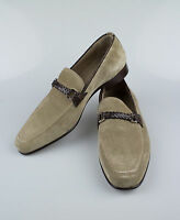 New BRIONI Brown Suede Leather W/ Crocodile Trimmings Loafers Dress Shoes 10/43