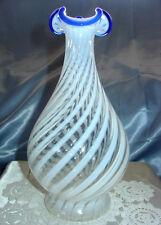 """MINT~VINTAGE~30's""""FENTON GLASS""""BLUE RIDGE""""OPALESCENT""""SPIRAL~V SRC~10""""BOTTLE/VASE"""