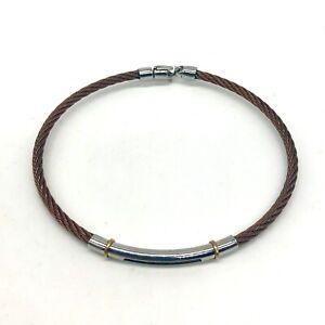 ALOR Stainless Steel 18k Gold Cable Bracelet Mens 8.25 Copper Silver Stackable