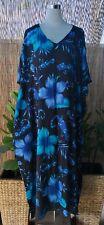 Plus Size Long  Blue Floral Polynesian Maxi Kaftan -Dress Size 16-18-20-22-24