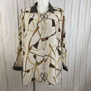 Roz & Ali size 2X  Equestrian print Button Down Blouse Shirt NWT Dressbarn