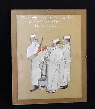 DESSIN HUMORISTIQUE GOUACHE SUR PAPIER SIGNATURE A IDENTIFIER ANNEES 40 (C26)