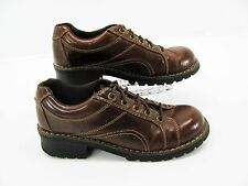MELROSE AVE Womens Brown Faux Leather Chunky Heel Hiking Oxford Shoe 9.5M #A6