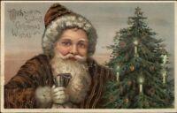 Christmas - Santa Claus SCARCE BROWN SUIT PFB c1910 Postcard EXC COND