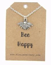 """Be Bee Happy Silver 18""""  Necklace on Card With a Quote Necklace New Great Gift"""