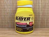 Bayer Aspirin 325mg 200ct coated tablets NSAID GENUINE ASPIRIN EXP October 2021