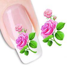 Nail Art Sticker Water Decals Transfer Stickers Pink Rose Art Flowers (DX1351)