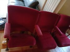 More details for 3 vintage red velvet folding theatre cinema seats bench chairs