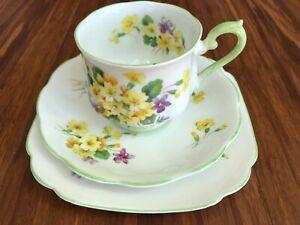 "Antique old vintage tea trio Royal Albert  ""Primulette""-cup, saucer, plate"
