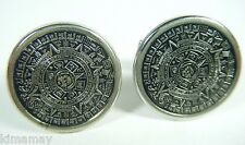 VTG 70'S SILVER TONE MAYAN CALENDAR CUFFLINKS NEW OLD STORE STOCK NEVER USED