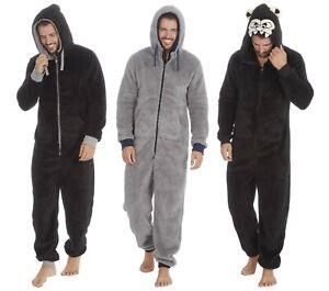 Mens Snuggle Fleece Hooded OneZee / All in One Pyjama / Lounger