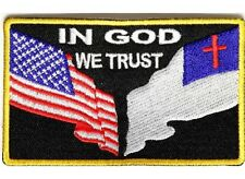 """(G23) IN GOD WE TRUST 3.5"""" x 2.25"""" iron on patch (1427) Christian Flag American"""