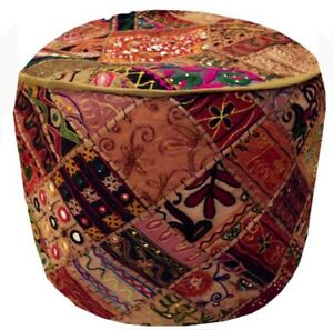 "24"" RARE OTTOMAN BENCH STOOL POUF CHAIR PILLOW FURNITURE FOLK INDIA POUFFE COVER"