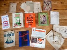 Lot Antique Vintage Hand Written Manuscript Book Recipe Cookery Ww2 Wartime Old