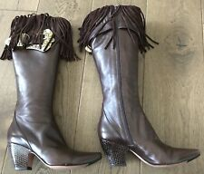 WOMENS LES TROPEZIENNES HIGH KNEE DK CHOCOLATE CALF LEATHER BOOTS - SIZE 37